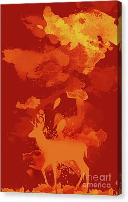 Deer Art Evening Canvas Print by Prar Kulasekara