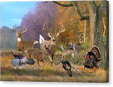 Deer Art - Field Of Dreams Canvas Print by Dale Kunkel Art