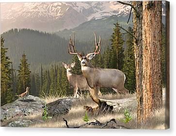 Deer Art - Mountain Rustic Canvas Print by Dale Kunkel Art