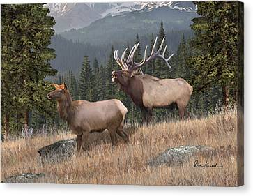 Deer Art - Rocky Mountain Elk Canvas Print by Dale Kunkel Art