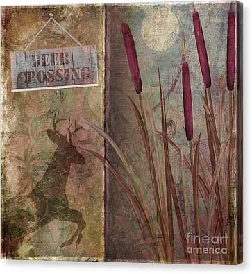 Deer Crossing  Canvas Print by Mindy Sommers
