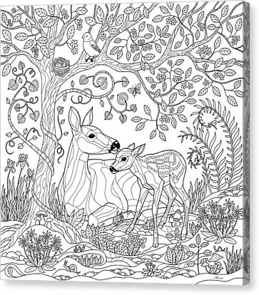Deer Fantasy Forest Coloring Page Canvas Print by Crista Forest