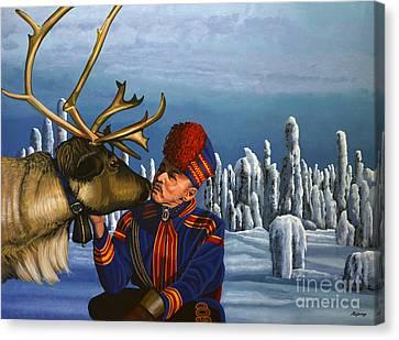 Deer Friends Of Finland Canvas Print by Paul Meijering