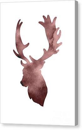 Deer Head Silhouette Minimalist Painting Canvas Print by Joanna Szmerdt