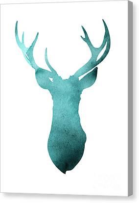 Deer Head Watercolor Giclee Print Canvas Print by Joanna Szmerdt