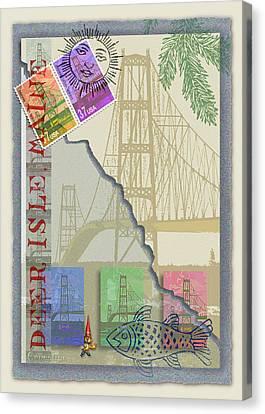 Deer Isle Collage Canvas Print by Ernestine Grindal