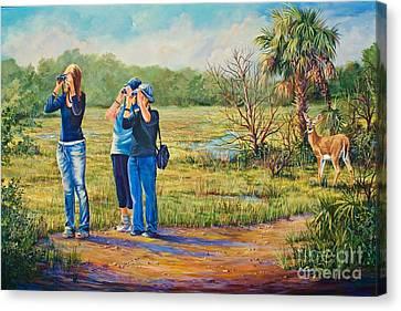 Deer Watching Canvas Print by AnnaJo Vahle