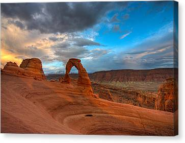 Delicate Arch Sunset Canvas Print by Jeff Clay