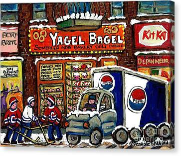 Delivery Day Yagel Bagel Bakery Pepsi Truck Boys Playing Hockey Best Montreal Hockey Winter Art Canvas Print by Carole Spandau