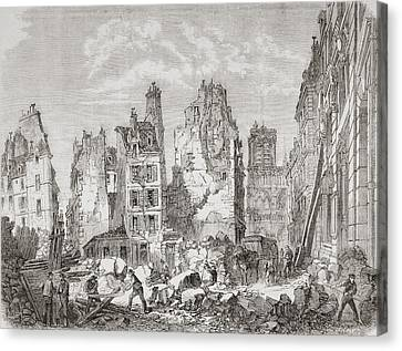 Demolition Work In Paris, France To Canvas Print by Vintage Design Pics