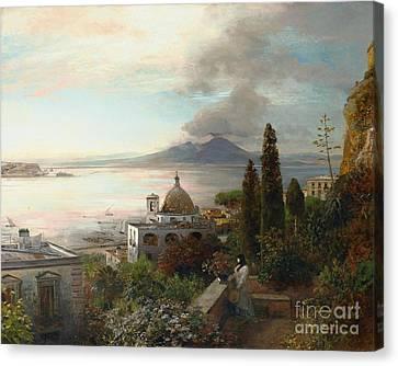 Den Golf Von Neapel Canvas Print by Oswald Achenbach