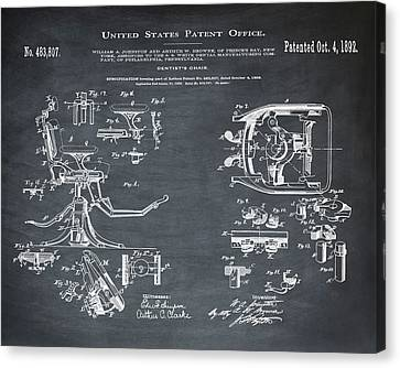 Dentists Chair Patent 1892 In Chalk Canvas Print by Bill Cannon