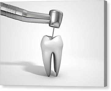 Dentists Drill And Tooth Canvas Print by Allan Swart