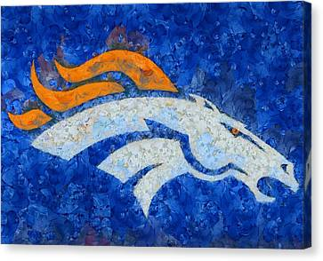 Denver Broncos Painted Logo Canvas Print by Dan Sproul