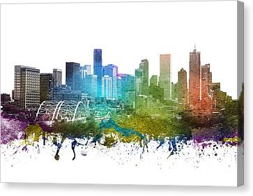 Denver Cityscape 01 Canvas Print by Aged Pixel