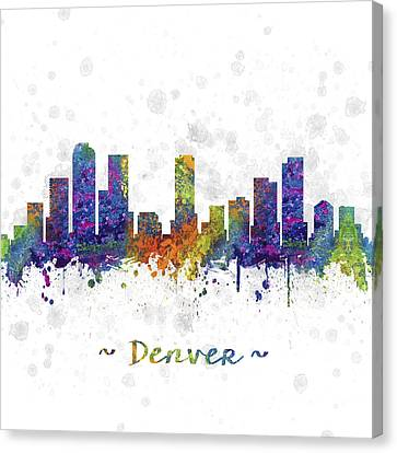 Denver Colorado Skyline Color 03sq Canvas Print by Aged Pixel