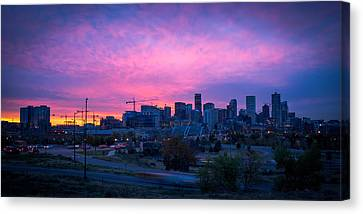 Denver Sunrise At Speer Canvas Print by Daniel Lowe