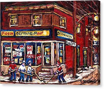 Depanneur Pigeon Street Hockey Night Scene Winter In The Old Neighborhood Verdun Paintings Best Art Canvas Print by Carole Spandau