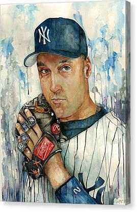 Derek Jeter Canvas Print by Michael  Pattison