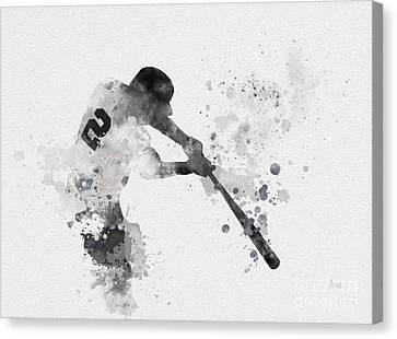 Derek Jeter Canvas Print by Rebecca Jenkins