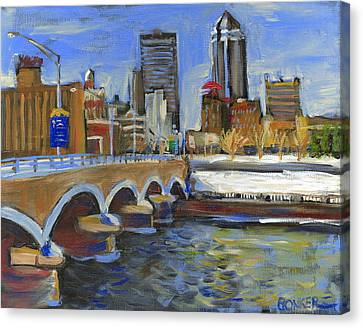 Des Moines Skyline Canvas Print by Buffalo Bonker