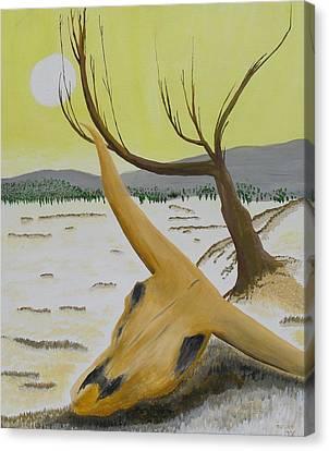 Desert Skull Canvas Print by M Valeriano