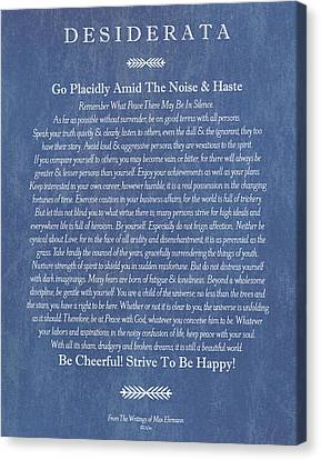 Desiderata On Blue Denim Canvas Print by Desiderata Gallery