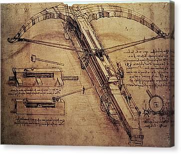 Design For A Giant Crossbow Canvas Print by Leonardo Da Vinci