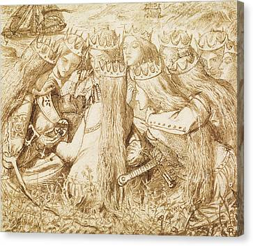 Design For Moxon's Tennyson - King Arthur And The Weeping Queens Canvas Print by Dante Gabriel Rossetti