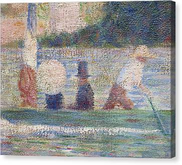 Detail From Bathers At Asnieres Canvas Print by Georges Pierre Seurat