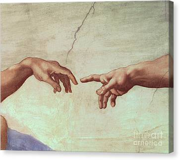 Detail From The Creation Of Adam Canvas Print by Michelangelo