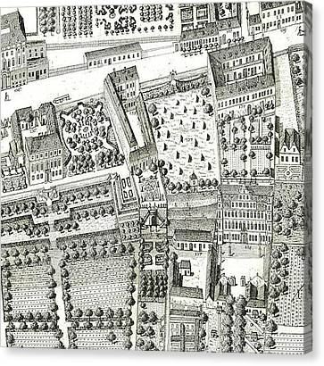 Detail Of A Map Of Vienna Showing 135 Alsergrund Where Mozart And His Family Lived During 1788  Canvas Print by Joseph Daniel Huber
