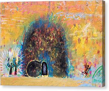 Detail Of Empty Tomb Canvas Print by Anne Cameron Cutri