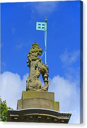 Detail Of Gatepost With Lion. Canvas Print by Stan Pritchard