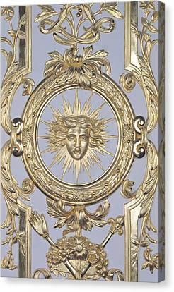 Detail Of Panelling Depicting The Emblem Of Louis Xiv From Versailles Canvas Print by Charles Le Brun