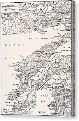 Detailed Map Of Gallipoli Peninsula And Canvas Print by Vintage Design Pics