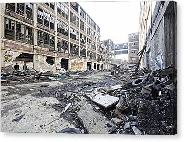 Detroit Abandoned Buildings Canvas Print by Joe Gee