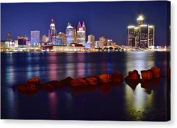 Detroit Lights Canvas Print by Frozen in Time Fine Art Photography