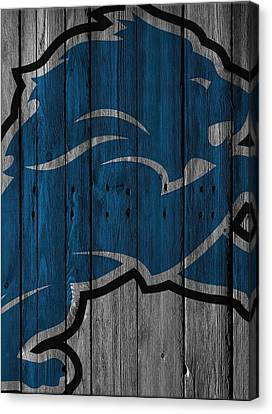 Detroit Lions Wood Fence Canvas Print by Joe Hamilton
