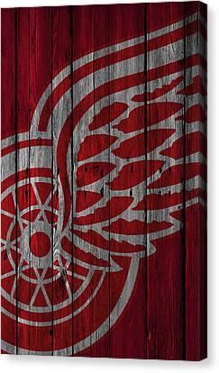 Detroit Red Wings Wood Fence Canvas Print by Joe Hamilton