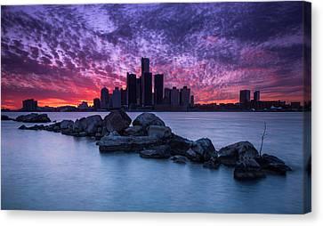 Detroit Skyline Clouds Canvas Print by Cale Best