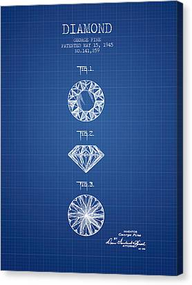 Diamond Patent From 1945 - Blueprint Canvas Print by Aged Pixel