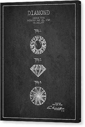 Diamond Patent From 1945 - Charcoal Canvas Print by Aged Pixel