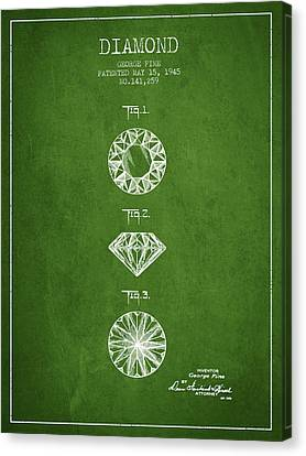 Diamond Patent From 1945 - Green Canvas Print by Aged Pixel
