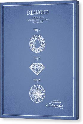 Diamond Patent From 1945 - Light Blue Canvas Print by Aged Pixel