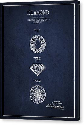 Diamond Patent From 1945 - Navy Blue Canvas Print by Aged Pixel