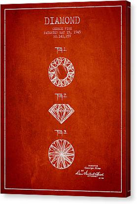 Diamond Patent From 1945 - Red Canvas Print by Aged Pixel
