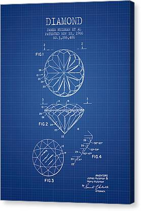 Diamond Patent From 1966- Blueprint Canvas Print by Aged Pixel