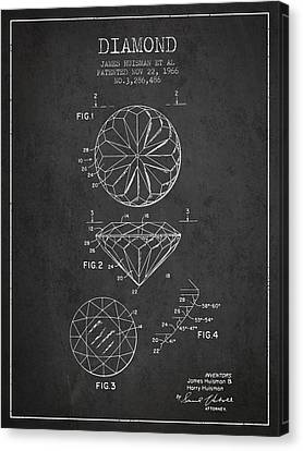 Diamond Patent From 1966- Charcoal Canvas Print by Aged Pixel