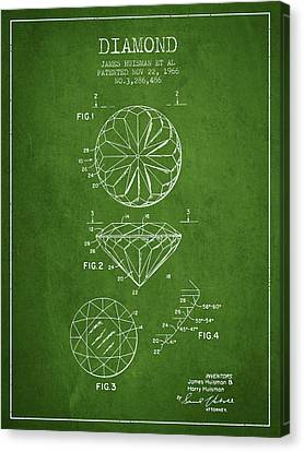 Diamond Patent From 1966- Green Canvas Print by Aged Pixel